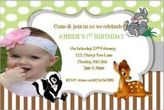 10 Personalised Birthday party Bambi thumper invites with envelopes by Personalised party printing, http://www.amazon.co.uk/dp/B00GQ7W89M/ref=cm_sw_r_pi_dp_H1T8sb0M6BXRS/275-7024509-9955740