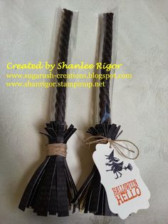 Witches' Broom cellophane treat holder, Stampin' Up! Witches' Brew DSP, Halloween Hello Stamp Set