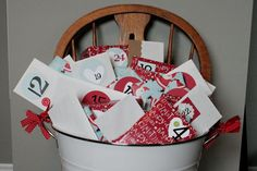 CHRISTMAS BUCKET...Kiddos unwrap a present every day in December with family activities.......write letters to Santa, make homemade ornaments, sort through toys to give to a shelter, go look at Christmas lights, Hot chocolate and toast before bed, Christmas movie and so on!
