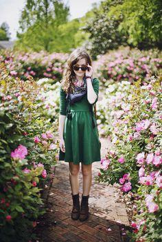 Love this green dress.