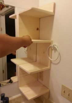 Easy 5 Step DIY Guide: Corner Shelving Unit.  Great for a weekend project! #diy #cornershelves #howto
