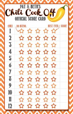 Chili Cook Off Score Cards and Labels