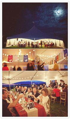 Outdoor reception in a tent - I love the lighting  tent wedding, ceiling fans, string lights, ceilings, maine wedding, table numbers, outdoor weddings, canopies, outdoor receptions