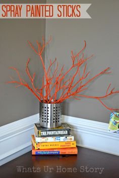 Decorating with branches - spray paint them your favorite color and display in a vase! - Whats Ur Home Story
