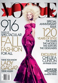 Lady Gaga is on the cover of Vogue this month (Sept 2012).
