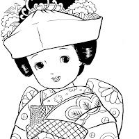 vintage japanese coloring pages