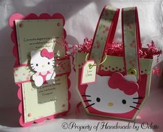 Hello Kitty invitations and favor boxes