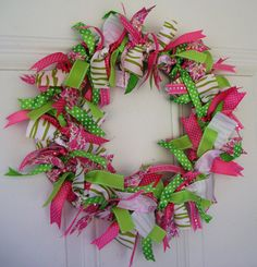 Ribbon Wreath - Pink and Green