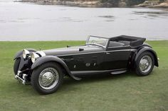 Beautiful black 1931 Daimler Double-Six 50 Corsica Drophead Coupé.  A treasure to any collector car fanatic's collection!