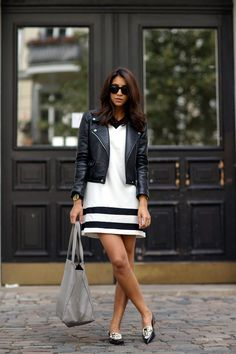 Contrast - white dress and black moto jacket