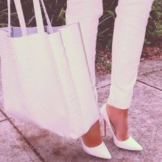 White pants, shoes, and purse FROM: http://media-cache-ak0.pinimg.com/originals/4e/cc/90/4ecc90da9e7d8793a9013e6fc9c13eef.jpg