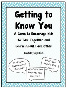Freebie! Getting to Know You Game! From Joy in Sixth Grade PInned by www.FernSmithsClassroomIdeas.com $0