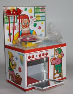 Vintage Doll Stove Kitchen Tin Toy Schopper West Germany Unused