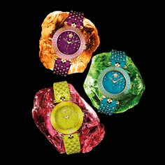 Bright lime, turquoise and purple enhance the wow factor of these iconic watches. #Versace #VersaceWatches