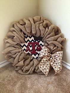 Burlap chevron Texas A&M Wreath by TheScarlettBelle on Etsy, $65.00