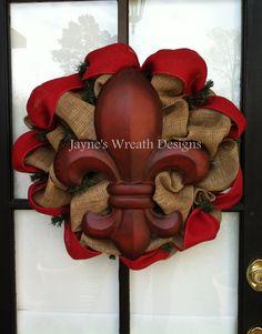 Burlap fleur de lis wreath for everyday