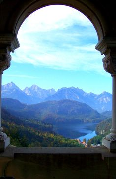 Looking out one of the windows in Schloss Neuschwanstein in southern Germany.