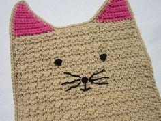 Crochet Kitty Cat Pot Holder in Tan and by crochetedbycharlene, $15.00
