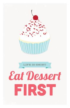 Eat Dessert First kitchen art print pink & by GraphicAnthology, $24.00