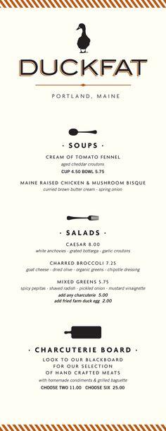 Duckfat menu / Might & Main