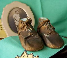 Bronze Leather Baby Shoes Preserved by cynthiasattic on Etsy, $44.00