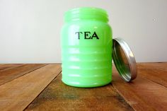 Vintage Jadeite Jadite Tea Canister w. Lid - Authentic Small 4.5 in Mid Century Tea Jar NM Condition Marked 2115-4 1950s on Etsy, $145.00