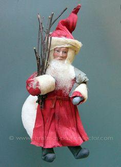 Antique Heubach Bisque Face Santa Christmas Ornament