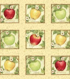 foodkitchen pattern, apples, quilt fabric, apple orchard