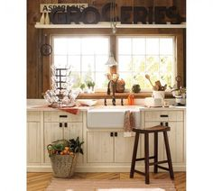 small country kitchen, Pottery Barn Fall Line 2011 window, letter, cabinet, farmhouse kitchens, kitchen sinks, farmhouse sinks, country kitchens, pottery barn, farm sinks
