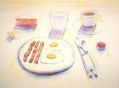 """Wayne Thiebaud Breakfast, 1995 Color drypoint Image Size: 17¾ x 23¾ """" Paper Size: 28¾ x 33¾ """" Edition Size: 50 Publisher: Crown Point Press Printer: Daria Sywulak"""