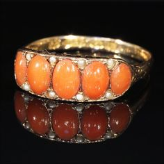 Antique Victorian Coral and Pearl Ring, Hallmarked 1874 15k Gold