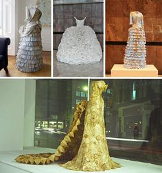 These dresses were made by the London-based artist Susan Stockwell. She uses dirty coffee filters, used tea bags, and worn maps to create these beautiful vintage fashions. True art made with disposable items.
