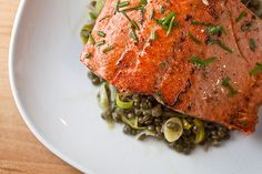 Salmon and French lentils
