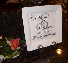 Wedding plates with vinyl | Cher's Signs by Design: Personalized Wedding Gifts/ Decorations