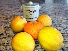 Spring stovetop potpourri: 4 lemons, sliced (or 2 large lemons);  1 clementine, sliced; 1 tsp Herbes de Provence