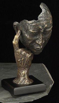 Thinking Man Bronzed Sculpture on Wood Base T.P.