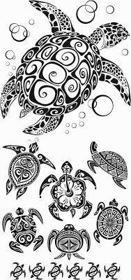 Tribal Sea Turtle Tattoos1 I just like the drawings.