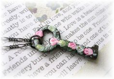 """Pin it to Win it! All you have to do is repin and you are entered to win this hand painted antique key Rose necklace! Value 20.00. This petite key is from the early 1900's. I hand painted it with fine enamels and sealed both sides with a matte finish. Shabby chic Roses in Chartreuse Green and Pink/White. Dark Patina chain and key. 22""""L figaro chain 1"""" x 1/2""""W Key. Trendy Chic! Thanks for pinning!   http://www.etsy.com/shop/TheVintageHeart?ref=si_shop"""