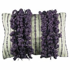 """Highlighted by lively garlands of grape-hued buds, this hand-woven pillow adds a playful pop of color to your bed or favorite arm chair.  Product: PillowConstruction Material: FabricColor: GrapeFeatures:  Insert includedHand-woven Dimensions: Small: 14"""" x 20""""Large: 14"""" x 28"""""""