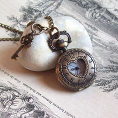 Tiny Pocketwatch and Antique Key Charm