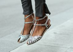 silver glitter sandals.