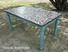 Paisley stenciled table -  no need for a tablecloth
