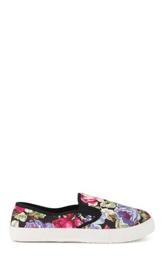 Deb Shops Floral Print Slip On Shoe $8.00