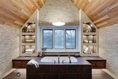 Good layout for attic bath suite.  Transitional Master Bath contemporary-bathroom