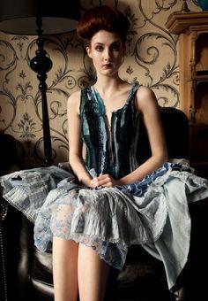 Upcycled blue velvet dress
