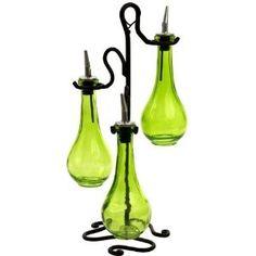 olive oil & vinegar jewel colored bottle set