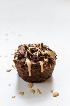 Double Chocolate Peanut Butter Muffins for Two | edibleperspective.com #glutenfree #vegan