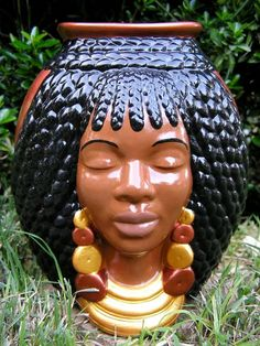 African American Braided Hair Vase by whitedovecrafts on Etsy