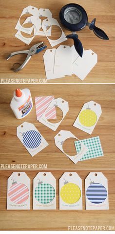 Scrap Paper Ornament Gift Tags fine sager med punch