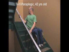 Paraplegic Climbs Stairs in Wheelchair